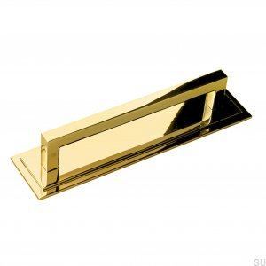 Elongated Art Deco 6 Furniture Handle, Polished Brass