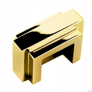 Art Deco 10 oblong furniture handle, polished brass