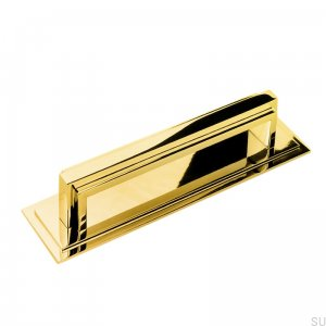 Art Deco 13 oblong furniture handle, polished brass