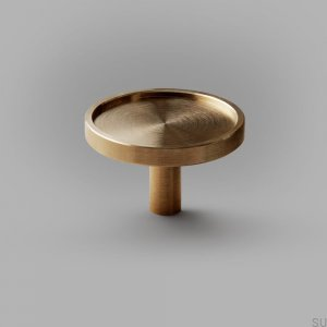 Ina L furniture knob Brass, Brushed, Unpainted