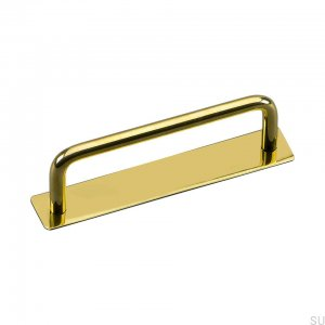 Elongated furniture handle with Royal Deluxe 96 washer, polished brass